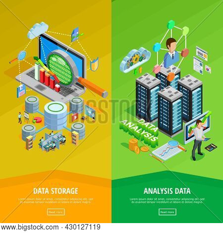 Big Data Storage And Analysis Technology Informatio Decisions 2 Isometric Vertical Banners Webpage D