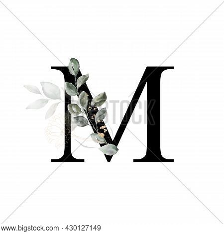 Capital Letter Mi Decorated With Golden Flower And Leaves. Letter Of The English Alphabet With Flora
