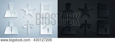Set Scales Of Justice, Law Book, Lawyer, Attorney, Jurist, Evidence Bag And Bullet, Hexagram Sheriff