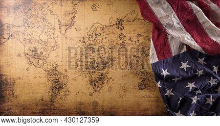 Happy Columbus Day Concept. Vintage American Flag With Retro Treasure Manuscript.  Flat Lay, Top Vie
