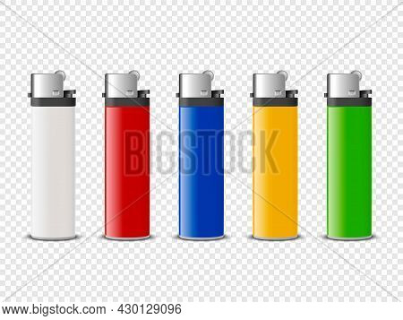 Vector 3d Realistic White, Red, Blue, Yellow, Green Blank Cigarette Lighter Set Closeup Isolated. De