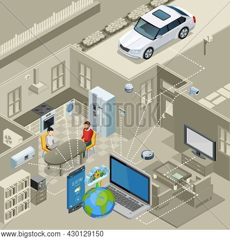 Internet Of Things Smart Urban Home Interior Concept Isometric Poster With Remote Controlled Applian
