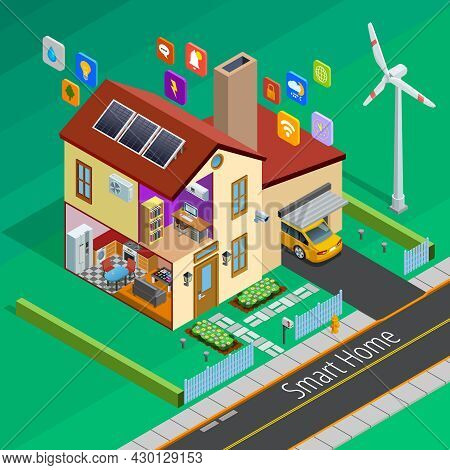 Internet Of Things Smart Country Home Outside Isometric Poster With Remote Controlled Appliances Sym