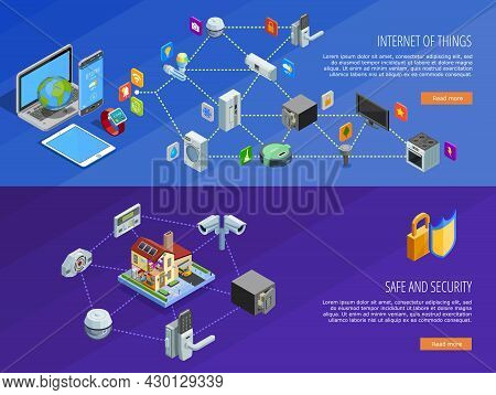 Internet Of Things Home Comfort And Safety Remote Control 2 Isometric Banners Webpage Design Isolate