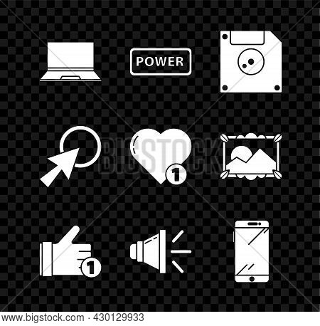 Set Laptop, Power Button, Floppy Disk For Computer Data Storage, Hand Like, Speaker Volume, Smartpho