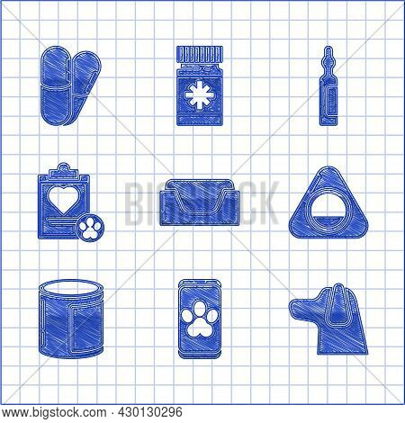 Set Pet Bed, Online Veterinary Clinic Symbol, Dog, Canned Food, Clipboard With Medical Clinical Reco