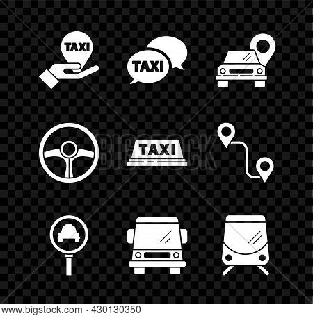 Set Hand On Map Pointer With Taxi, Taxi Call Telephone Service, Map, Magnifying Glass Car, Car, Tram