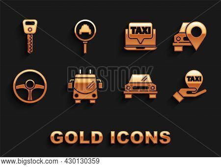 Set Trolleybus, Map Pointer With Taxi, Hand On Map, Car, Steering Wheel, Laptop Call Service, Key An