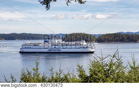 Victoria, Vancouver Island, British Columbia, Canada - August 10, 2021: Bc Ferries Boat Leaving To T