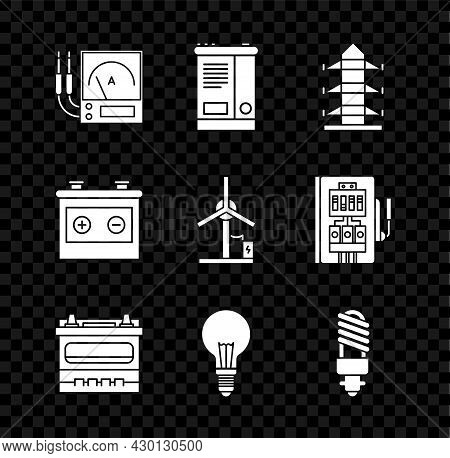 Set Ampere Meter, Multimeter, Voltmeter, Car Battery, High Voltage Power Pole Line, Light Bulb With