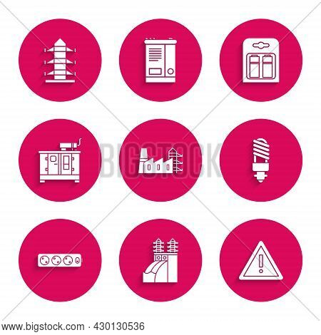 Set Power Station Plant And Factory, Nuclear Power, Exclamation Mark In Triangle, Led Light Bulb, El