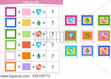 Logic Game For Children. Fold The Elements And Choose The Answer From The Options. Vector Illustrati