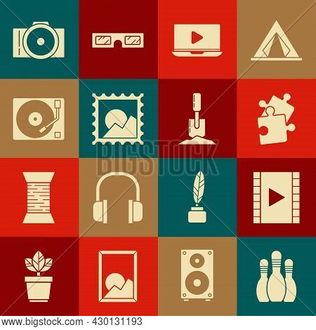 Set Bowling Pin, Play Video, Piece Of Puzzle, Online Play Video, Picture Landscape, Vinyl Player Wit