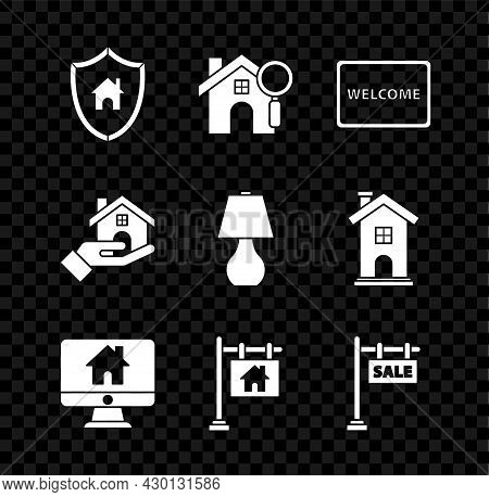 Set House With Shield, Search House, Doormat The Text Welcome, Computer Monitor Smart Home, Hanging