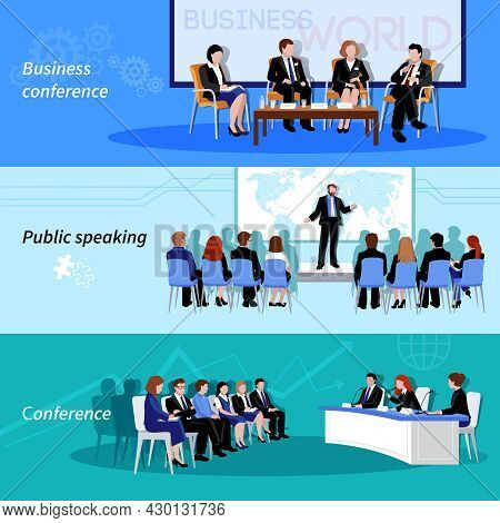 Business Conference Public Speaking 3 Flat Horizontal Vectors Set With Whiteboard Result Presentatio