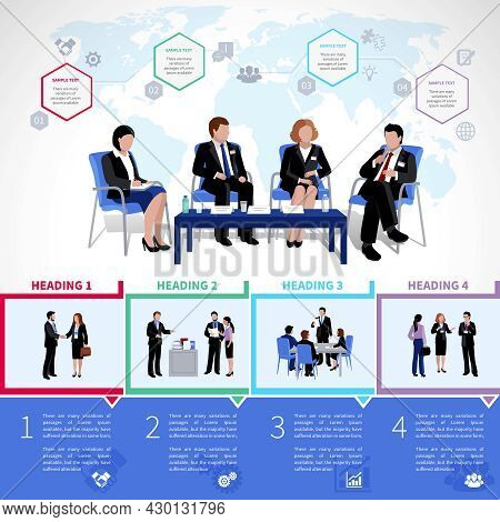 Meeting People Infographics Set With Collaboration Briefing Analysis Brainstorming Consultation In F