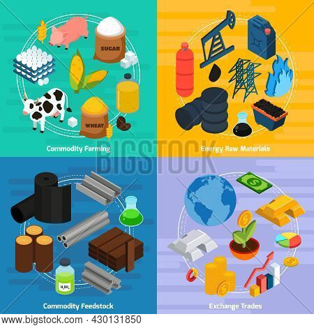 Commodity Concept Icons Set With Commodity Farming And Raw Materials Symbols Isometric Isolated Vect