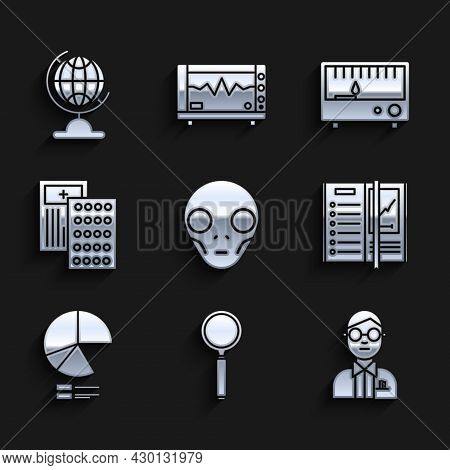 Set Extraterrestrial Alien Face, Magnifying Glass, Scientist, Notebook, Pie Chart Infographic, Pills