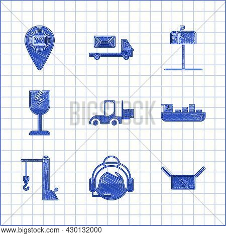 Set Forklift Truck, Cardboard Box With Traffic Symbol, Cargo Ship Boxes Delivery Service, Harbor Cra