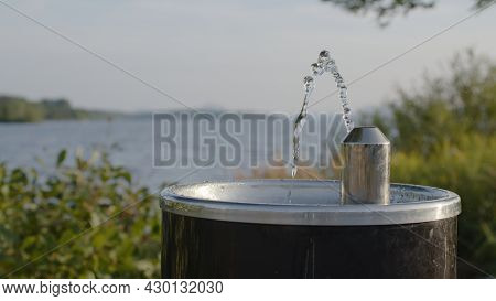Drinking Fountain Water Jet Splash Drops In Nature
