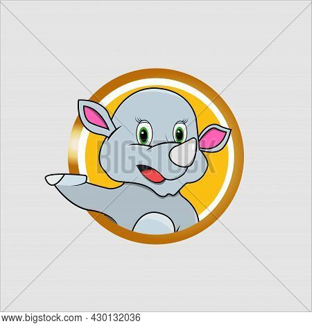 Rhinoceros Head Circle Label With Funny Smile Expression , Yellow Colors Background, Mascot, Icon, C