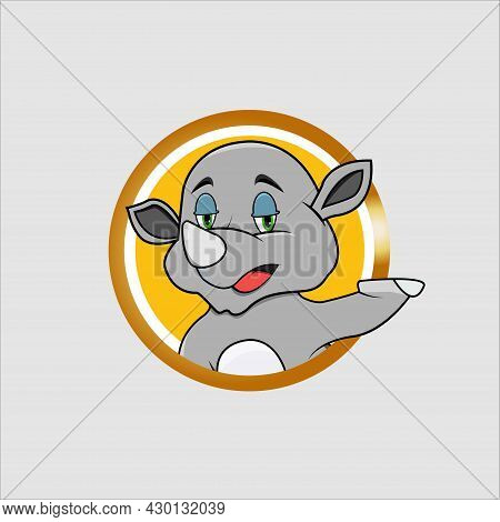 Rhinoceros Head Circle Label With Relax Smile Expression , Yellow Colors Background, Mascot, Icon, C