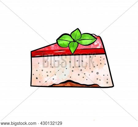 Llustration Of A Colored Drawing Of Sweets: A Piece Of Cake Mousse With Layer Of Beige, Top Layer Of