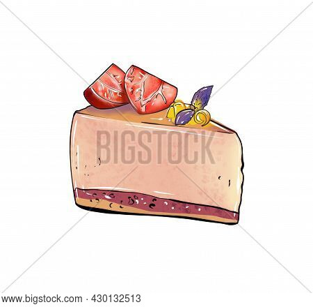 Llustration Of A Colored Drawing Of Sweets: A Piece Of Cake Mousse With Layer Of Pink, Top Layer Dec