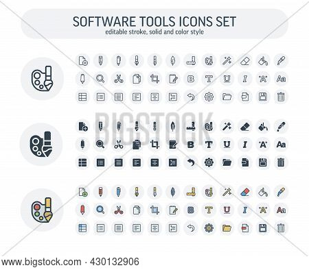 Vector Editable Stroke, Solid, Color Style Icons Set And Graphic Design Elements. Illustration With
