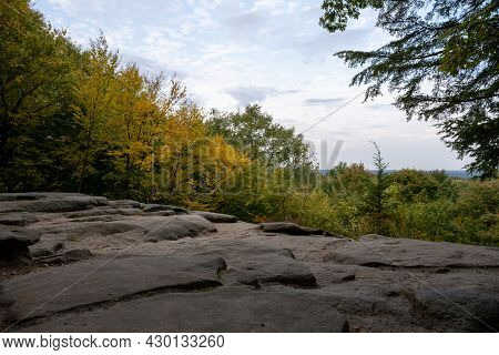 Yellow Fall Colors Creep Into The Ledges Overlook In Cuyahoga Valley National Park