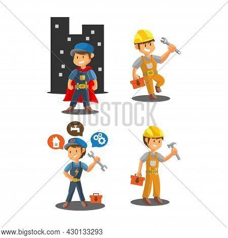 Repair Man Worker Mechanic Workshop Emblem Badge Mascot Illustration Set