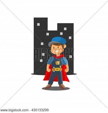 Repair Man Super Hero Worker Mechanic Workshop Emblem Badge Mascot Illustration