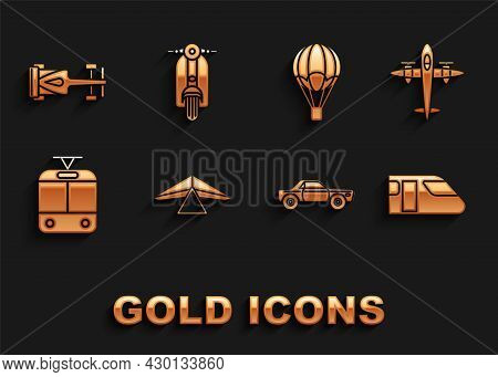 Set Hang Glider, Old Retro Vintage Plane, Train, Sedan Car, Tram And Railway, Hot Air Balloon, Formu