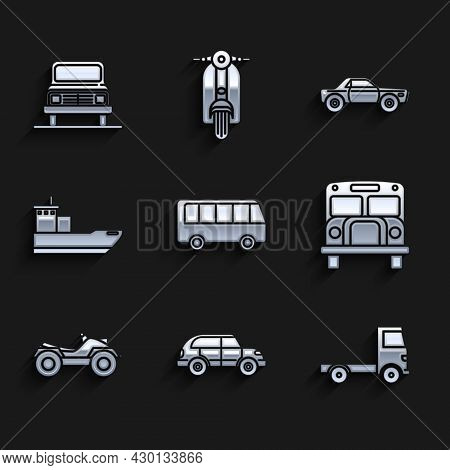 Set Bus, Hatchback Car, Delivery Cargo Truck Vehicle, School, All Terrain Vehicle Or Atv Motorcycle,
