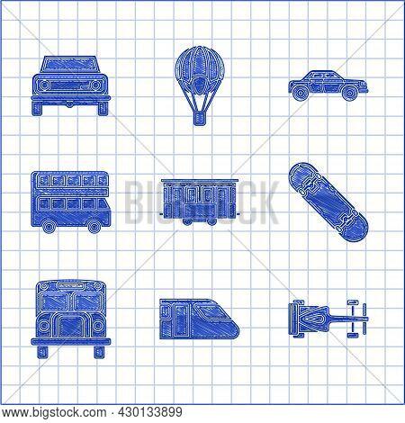 Set Old City Tram, Train, Formula Race Car, Skateboard, School Bus, Double Decker Bus, Sedan And Off