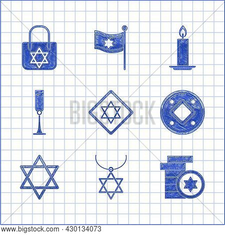 Set Star Of David, Necklace On Chain, Jewish Coin, Goblet, Burning Candle Candlestick And Shopping B