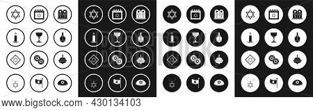 Set Tombstone With Star Of David, Jewish Goblet, Burning Candle In Candlestick, Star David, Hanukkah