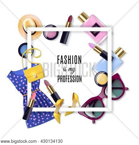 Women Fashion Lay Concept Cartoon Set With Frame Vector Illustration