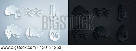 Set Thermometer And Cloud, Storm, Water Drop Percentage, Waves And Celsius Icon. Vector