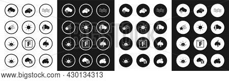 Set Waves, Sun, Falling Star, Cloud With Snow, Thermometer And Cloud, Weather, Storm And Sunset Icon