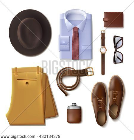 Men Wear Lay Concept With Clothes And Accessories Cartoon Isolated  Vector Illustration