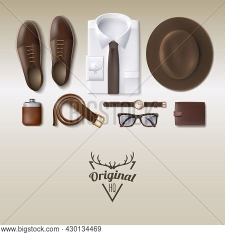 Men Fashion Lay Cartoon Concept With Clothes Isolated Vector Illustration