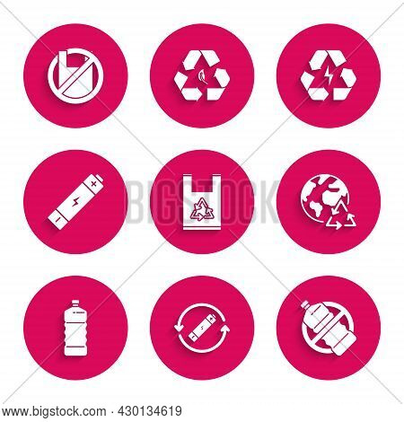 Set Plastic Bag With Recycle, Battery Symbol Line, No Plastic Bottle, Planet Earth And Recycling, An