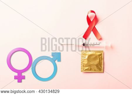 Red Bow Ribbon Symbol Hiv, Aids Cancer Awareness, Condom And Syringe With Male, Female Gender Signs,