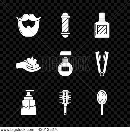 Set Mustache And Beard, Classic Barber Shop Pole, Aftershave, Hairbrush, Hand Mirror, Shaving Gel Fo
