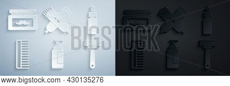 Set Cream Or Lotion Cosmetic Tube, Glass Bottle With Pipette, Hairbrush, Shaving Razor, Crossed Elec