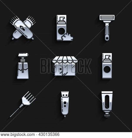 Set Barbershop Building, Electrical Hair Clipper Or Shaver, Cream Lotion Cosmetic Tube, Shaving Gel