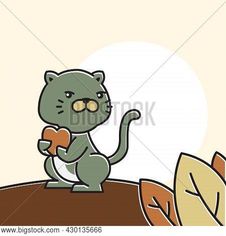 Cat Standing Holding Heart Love Autumn Fall Season Cartoon