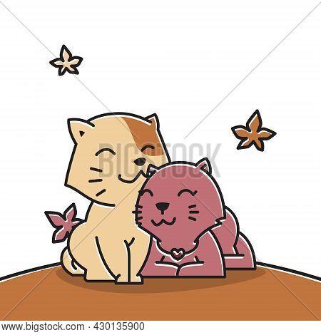 Happy Cat Couple Love Autumn Fall Season Cartoon