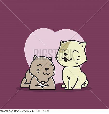 Happy Cat Couple Love Joy Pet Lover Cartoon